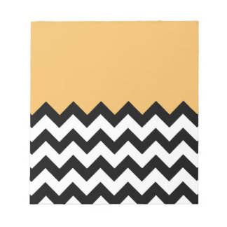 Beeswax Orange Yellow On Black & White Chevron Scratch Pad