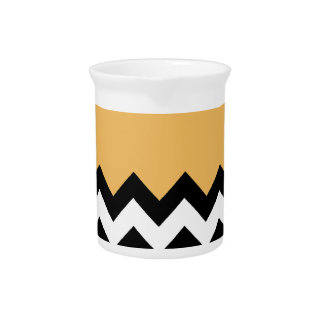 Beeswax Orange Yellow On Black & White Chevron Pitchers
