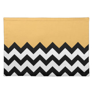 Beeswax Orange Yellow On Black & White Chevron Place Mats