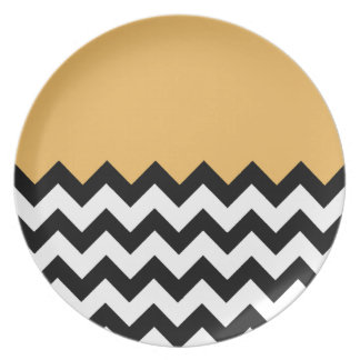 Beeswax Orange Yellow On Black & White Chevron Plates