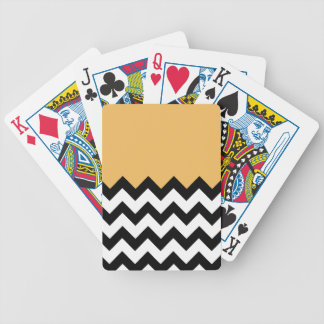 Beeswax Orange Yellow On Black & White Chevron Bicycle Card Decks