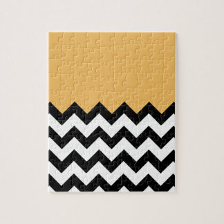 Beeswax Orange Yellow On Black & White Chevron Jigsaw Puzzle