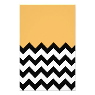 Beeswax Orange Yellow On Black & White Chevron Stationery