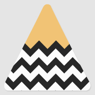 Beeswax Orange Yellow On Black & White Chevron Sticker
