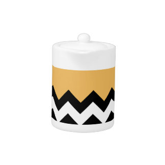 Beeswax Orange Yellow On Black & White Chevron