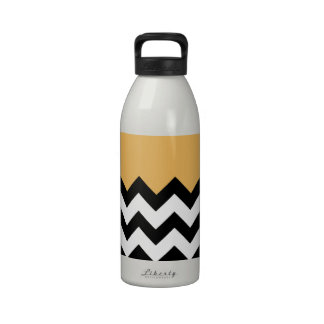 Beeswax Orange Yellow On Black & White Chevron Water Bottles