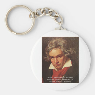 """Beethoven """"Of Heaven"""" Love Quote Gifts & Tees Basic Round Button Key Ring"""