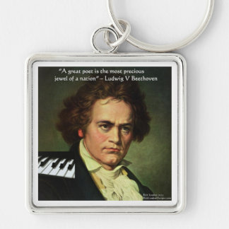 Beethoven & Poets/Gems Quote Gifts Tees & Cards Silver-Colored Square Key Ring