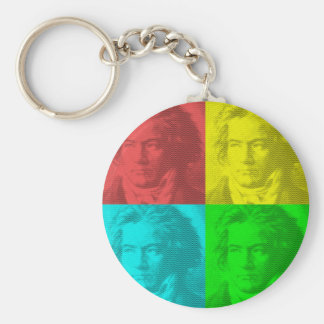 Beethoven Portrait In Squares Key Ring