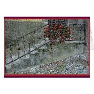 Begonias on stoop of home in olLjubljana, Slovenia Card