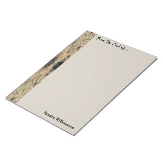 beige and black pattern notepad