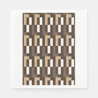 Beige and brown art deco disposable serviette