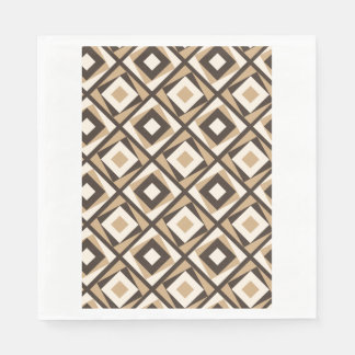Beige and brown square diamonds disposable serviettes