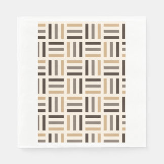 Beige and brown stripes paper napkins