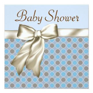 Beige Blue Brown Baby Boy Shower Invitations