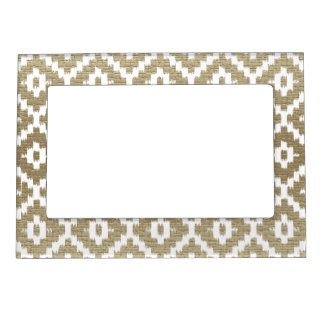 Beige Brick Aztec Tribal Print Ikat Diamond Pattrn Magnetic Frame