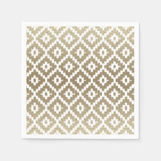 Beige Brick Aztec Tribal Print Ikat Diamond Pattrn Paper Napkins