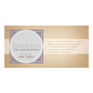 Beige Circle P Square Tags Sympathy Thank you P Personalised Photo Card