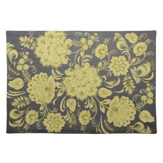 Beige European Flowers on Black Placemat