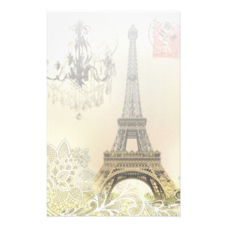 beige floral lace chandelier paris eiffel tower stationery