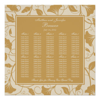 Beige Floral Wedding Reception Seating Chart Poster