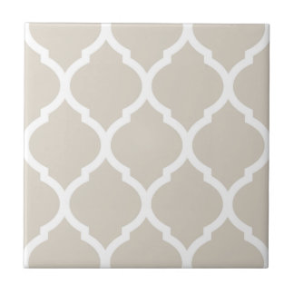 Beige Moroccan Quatrefoil Patterned Ceramic Tile