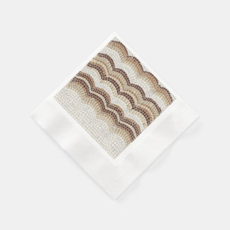 Beige Mosaic Coined Cocktail Paper Napkins