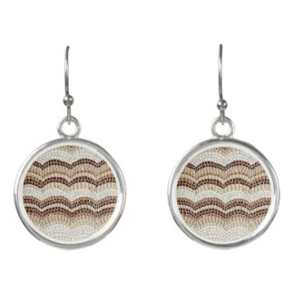 Beige Mosaic Drop Earrings