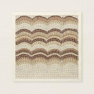 Beige Mosaic Ecru Cocktail Paper Napkins