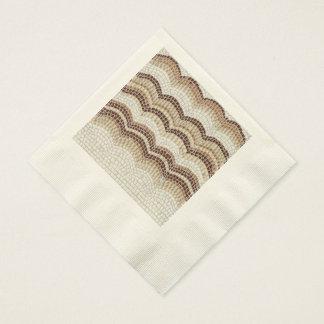Beige Mosaic Ecru Coined Luncheon Paper Napkins