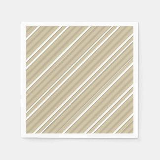Beige Pin Stripes Paper Napkins