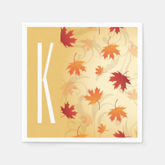 Beige, Red, and Orange Autumn, Fall Leaves Paper Serviettes