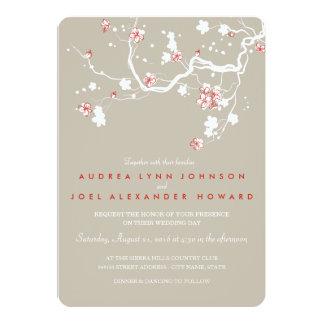 Beige Sakura Wedding Invitation Card