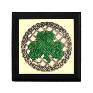 Beige Shamrock On Celtic Knots Gift Box
