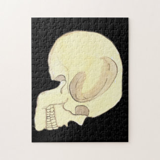 Beige Skull on Black Jigsaw Puzzle