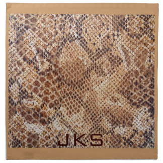 Beige Snakeskin Print with 3 Initials Printed Napkins