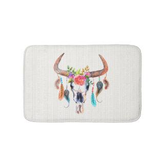 Beige Tribal Pattern And Bull Skull Bath Mat