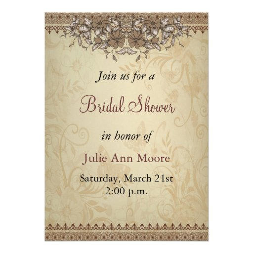 Beige Vintage Lace Bridal Shower Personalised Invites on Zazzle.co.nz
