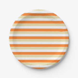 Beige, White and Orange Stripes 7 Inch Paper Plate