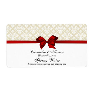 Beige White Damask Water Label With Red Bow Shipping Label
