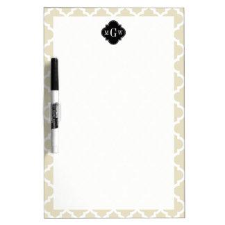 Beige, White Moroccan #5 Black 3 Initial Monogram Dry-Erase Whiteboard