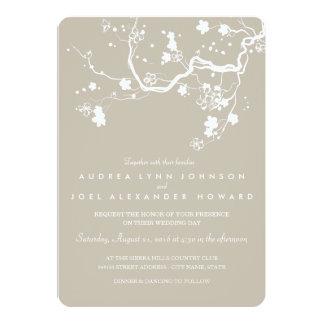 Beige & White Sakura Wedding Invitation Card