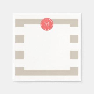 Beige White Stripes Pattern, Coral Monogram Paper Napkin