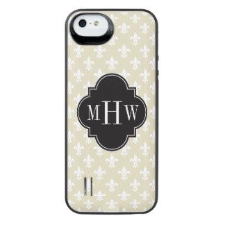 Beige Wht Fleur de Lis Black 3 Initial Monogram iPhone SE/5/5s Battery Case