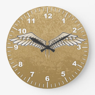 Beige wings large clock