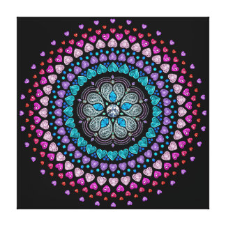 Bejeweled Diamond Heart Explosion Canvas