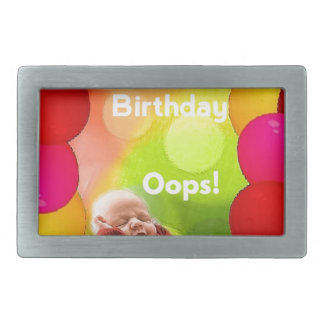 Belated birthday with  balloons rectangular belt buckle