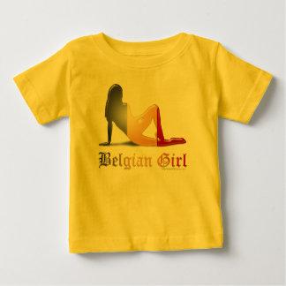 Belgian Girl Silhouette Flag Baby T-Shirt
