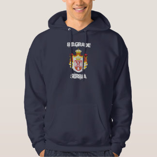 Belgrade, Serbia with coat of arms Hoodies