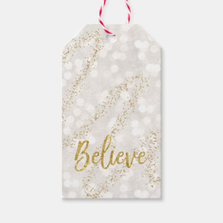 Believe Faux Gold Glitter Bokeh Gift Tag